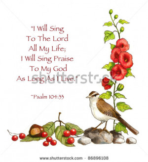 Bible Verse: Psalms: Drawing of Flowers And Bird - stock photo
