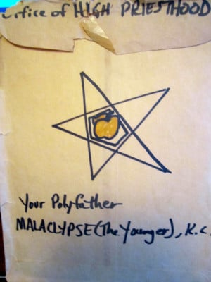An official envelope of the Office Of the High Priest, Polyfather ...