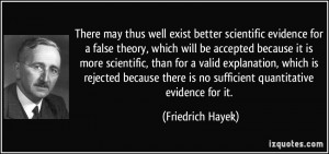 ... there is no sufficient quantitative evidence for it. - Friedrich Hayek
