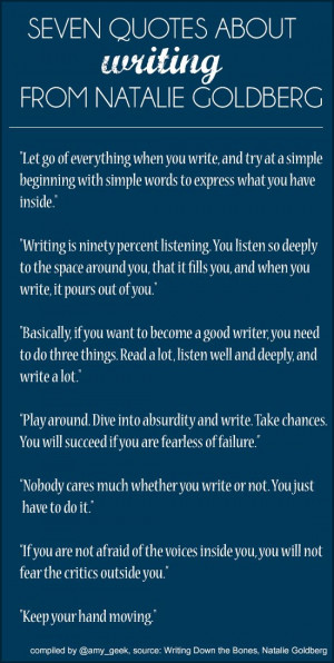 Seven quotes about writing from Natalie Goldberg. (These are really ...