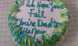 My co-workers got me a cake on the last day of my work