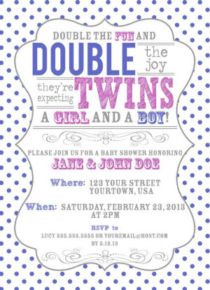 Vintage Inspired Twin Baby Shower Invitation