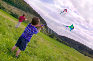 Stock photo : Two young boys flying their kites in a meadow.