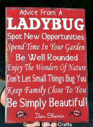 ... Ladybug - Antiqued, Distressed - Entryway, Family Room - Hand Painted