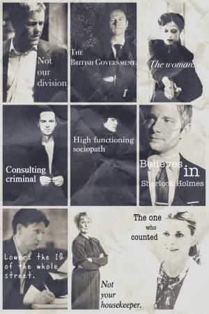 Sherlock BBC. Greg Lestrade, Mycroft Holmes, Irene Adler, Jim Moriarty ...