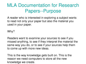 MLA Documentation for Research Papers Purpose Quote