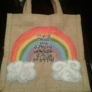 Rainbow quote lunch bag.
