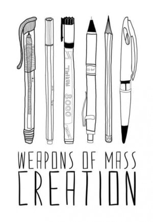 mass creation, pen, pencil, quotes, weapon