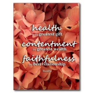 , Buddha Quote Post Card Health, Contentment and Faithfulness, Buddha ...