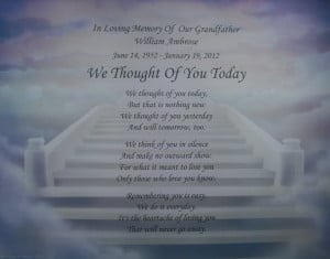 We Thought of You Today Personalized Memorial Poem Gift for Deceased ...