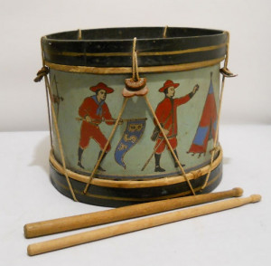 Pre WW1 tin lithographed Boy Scouts of America toy drum. Tin, wood ...