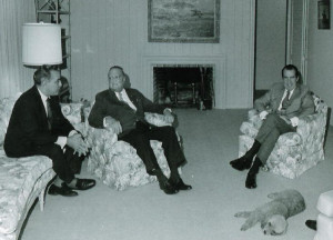 President Richard Nixon with Bebe Rebozo (left) and J. Edgar Hoover ...