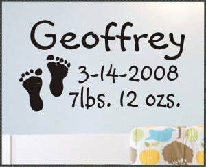 Nursery Wall Quote Baby Footprints and Name