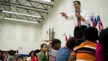 Dalton McGuinty addresses the students of Mount Joy Public School