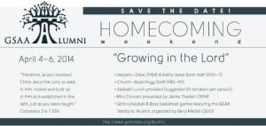 "... Adventist Academy's Homecoming weekend, ""Growing in the Lord"