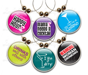 Funny Phrases Wine Glass Charms, Set of 6, Wine Charms, Wine Gifts ...