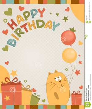 More similar stock images of ` Cute happy birthday card a cat `