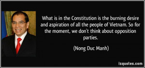 Constitution is the burning desire and aspiration of all the people ...