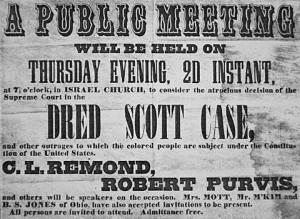 poster stating the dred scott case