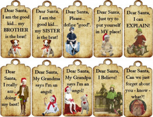 Dear Santa Funny Quotes Digital Downloadable Gift Tags Who Says