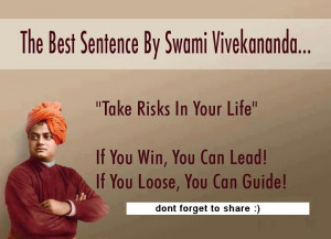 Quote on taking risks by Swami Vivekananda