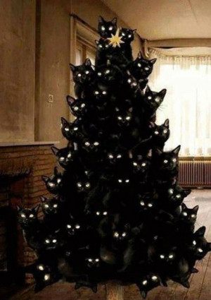 Your creepy black cat Christmas tree has arrived!