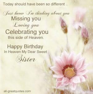 Birthday In Heaven Card For Sister Happy Birthday In Heaven My Dear ...