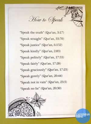 quotes from the Book of Allah on how to speak with dignity. (13 verses ...