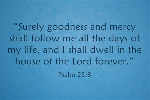 """Psalm 23:6 """"Surely goodness and mercy shall follow me all the days ..."""