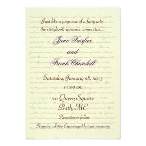 Jane Austen Wedding Celebration Quotes Personalized Invite