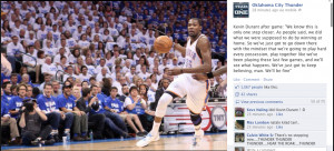 Thunder post featuring a quote from Kevin Durant