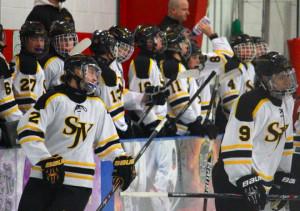 St. John Vianney ice hockey celebrates a goal against Brick Memorial ...