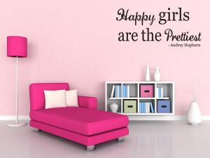 Happy-Girls-Quote-Wall-decal-Audrey-Hepburn-Wall-Sticker-Girl-Room ...