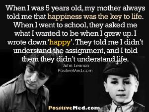 John Lennon Inspirational Quote Happiness Key Life