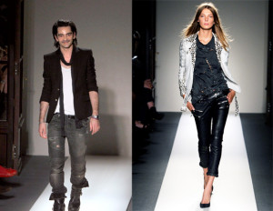 Christophe Decarnin and a model wearing the look he was famous for. He ...