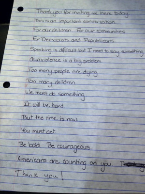 Handwritten Notes for Gabrielle Giffords's Testimony to the Senate ...