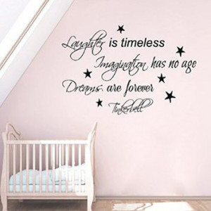 Wall Decals Vinyl Decal Sticker Wording Tinkerbell Quote Laughter Is ...