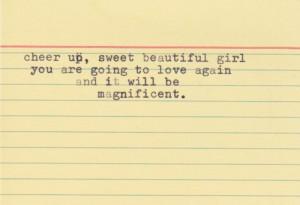 cheer up sweet beautiful girl – Love Quote