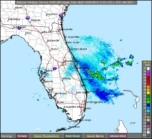 radar loop from the Melbourne, FL radar and current weather warnings