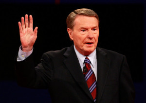 in this photo jim lehrer debate moderator jim lehrer speaks prior