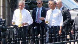 White House Chief of Staff Denis McDonough and President Obama return ...
