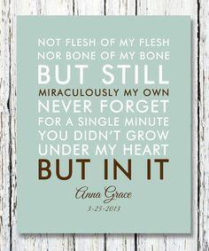 NOT FLESH of my flesh not BONE of my Bone Quote Adoption Creed Custom ...