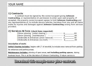 Snow plow contract sample.