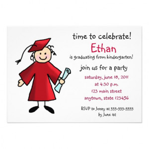 Kindergarten Graduation Invitation--Boy, Red from Zazzle.com