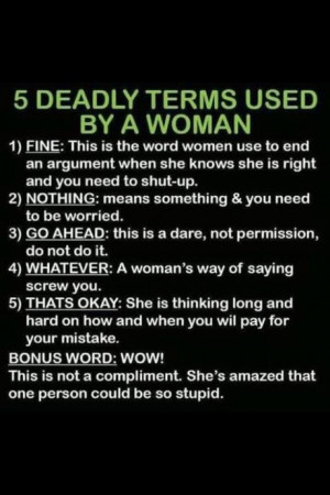 funny 5 Deadly Terms Used by a Woman quotes
