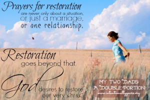 As I pray for restoration of one area in my life, I am reminded of how ...