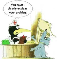 Funny humor cartoon of bureaucratic hospital reception