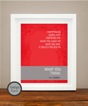 Red Happiness Inspirational Quote Art, Buddha Quote, Brown Coffee, Red ...