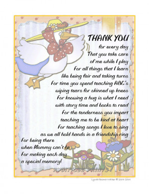 Art Child's THANK-YOU Poem Gift To Their Daycare Provider Childcare ...
