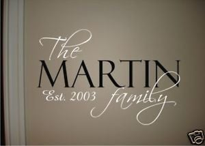 FAMILY-NAME-EST-DATE-Vinyl-Wall-Quote-Decal-Home-NEW